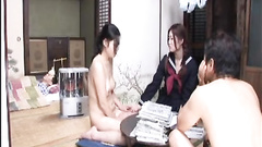 Two amateur Japanese women share cock in threesome