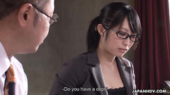 Neat and devoted secretary works on boss's cock