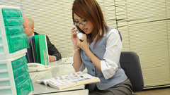 Office lady toy and fingers masturbation