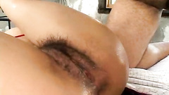 Man fucking Asian pussy and rubbing clit with vib