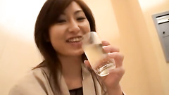 Asian teen in fishnet outfit enjoys toy and vib