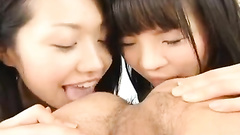 Cutie Asian teen girlfriends are happy to lick fucker's asshole