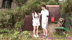 Hungry Japanese dude seduces teen chick at backyard