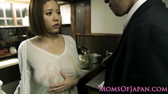 Charming hot Japanese milf gets seduced for fuck by bald dude