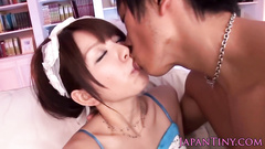 Young oriental chick in cute dress gets fucked hard