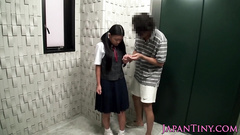 Japanese student girl gets fucked on stairway in her mouth