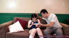 Yummy Japanese girl gets drilled with dildo by three men