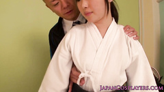 Japanese samurai girl does deepthroat blowjob