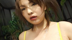 Yellow bikini girl sucking and cum eating