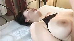 Fishnet stockings girl with huge boobs gets probed