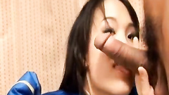Asian sweetie enjoys sucking two hairy dicks