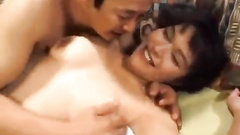 Round boobed Asian chick is getting hotly excited by her fucker friend