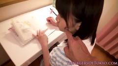 Teen Japanese cutie is getting seduced while doing homework