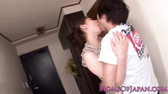 Cute Japanese girl hotly excites from French kiss
