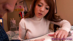 Asian busty girl covets to handsome guy while doing homework