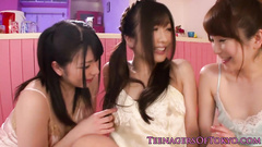 Wonderful Japanese girl is getting fondled by two lesbians