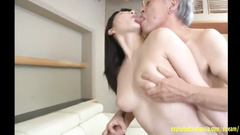 The slutty looking JAV idol rides the older man hardly