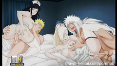 Horny Naruto is pleasuring hardcore hentai threesome fuck at rather places