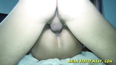 Asian blonde chick gets the finger and cock into asshole