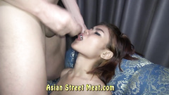 Hot Asian masturbates and makes the boy cum in her mouth