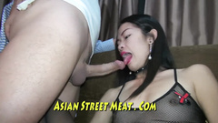 Small titted Asian takes dildo and cock up the warm ass