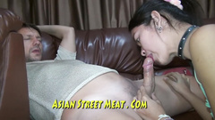 Girl from Asia loses off pants and fucks for money