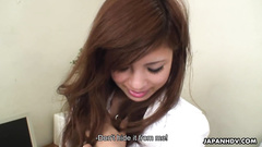 Asian office girl bends over and gets toyed by her man
