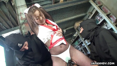 Japanese college girl got trapped by ninjas and fucked passionately hard