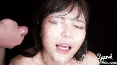 Group of oriental dudes are cumming on Japanese girl's face