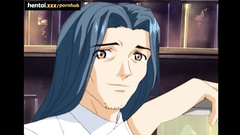 Blue haired Asian porn cartoon hero spies his step mom and sister stroking pussy