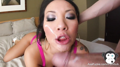 Japanese great porn star Asa Akira is doing deepthroat blowjob