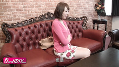 Slender skinny Japanese milf is fondling young dick before masturbating pussy