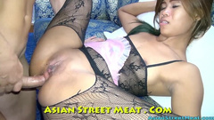 Wonderful young Thai girl dressed in hot black lace pantyhose enjoys fucking with white guy